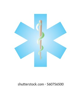 Snake and Staff Rod of Asclepius Medical Icon in Color Gradient Vector