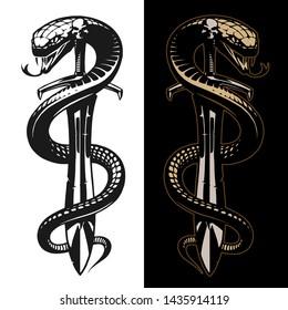 Snake and sword tattoo illustration