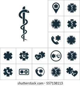 snake symbol icon, medical signs set on white background