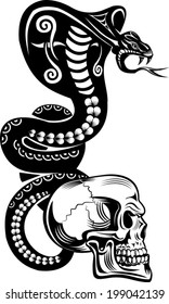Snake Tattoo Cobra and Skull