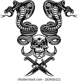 Snake Tattoo Cobra Skull and Dagger