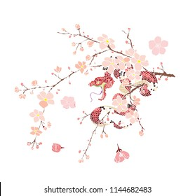 snake tattoo and illustration design with Sakura branch.red snake with apple fruit and Cherry flower spring season vector illustration background.Poster design Red snake Reptile and hibiscus flower