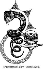 Snake Tattoo and Skull