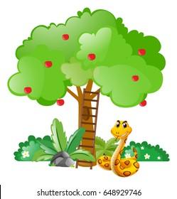 Snake under apple tree illustration