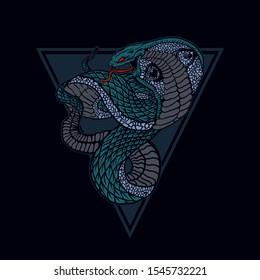 snake vector illustration, king cobra vector.