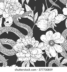 Snakes and flowers. Tattoo art, coloring books. Hand drawn vintage vector seamless pattern.
