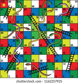 Snakes and Ladders Board Game, Snakes, ladders, start, finish .Vector illustration.