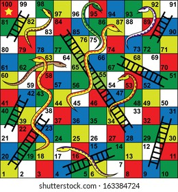 Snakes and Ladders Board Game, Snakes, ladders, start, finish