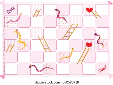 Snakes and Ladders board game in wedding style. vector illustration.