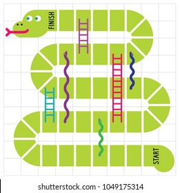 Snakes and ladders game board.