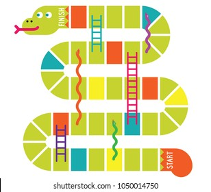 Snakes and ladders game board. Vector