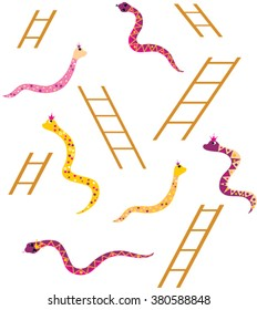 Snakes and Ladders game elements illustrations.