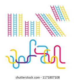 Snakes and ladders game elements. Vector illustration