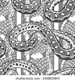 Snakes on the background with a snake skin texture. Seamless pattern. Template for the design of textiles, wallpapers, paper. Decorative background with reptile drawings. Vintage. Black and white.