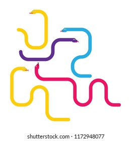 Snakes suitable for the game snakes and ladders. Vector