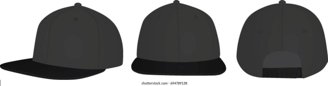 Snap back cap. vector illustration
