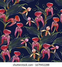 Snap dragon pink flowers. Floral seamless pattern. Summer garden art. Embroidery. Line style. Fashion template for clothes, textiles