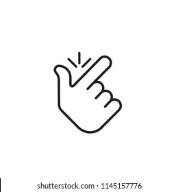 Snap finger logo. concept make flicking fingers.popular gesturing.linear abstract trend simple okey logotype graphic design isolated on white background.thin line.snapping fingers hand icon.