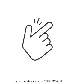 Snap fingers vector icon, thin line outline art style snapping thumbs gesture symbol isolated on white, finger click signal