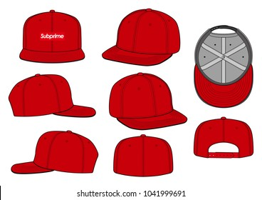 Snapback cap vector illustration flat sketches template