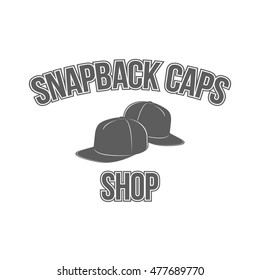 ae0298aec75 Snapback caps shop badge. Monochrome logo in sport style and retro design  for baseball hats