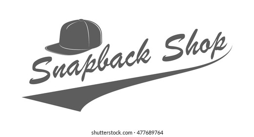 5d0b99b2b3c Snapback shop logo in vintage style. Monochrome emblem for baseball hats  store advertising. Vector