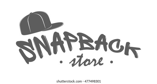 776de7bce8a Snapback store logo. Monochrome label with text in hand drawn style  isolated on white background
