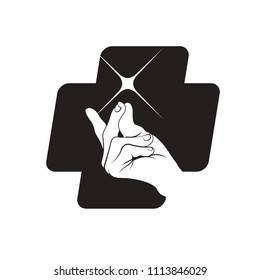 snapping hand in silhouetted cross vector illustration