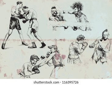 Snapshots and pictures of boxing matches. Description: Vector illustrations in black lines. As background vintage paper. Every illustration in a separate layer. Easily editable.