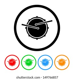 Snare Drum Icon in Vector Format with Color Variations