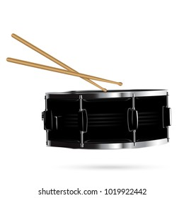 Snare drum isolated on white background. Realistic vector illustration.
