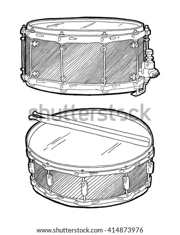 Snare Drum Sketch Drawing Isolated On Stock Vector Royalty Free
