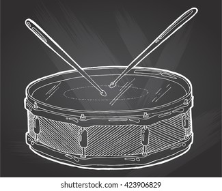 Snare drum and sticks sketch drawing isolated on chalkboard background. Hand drawing vector illustration