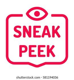 Sneak peek. Badge with eye icon. Flat vector illustration on white background.