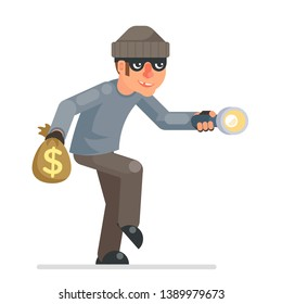 Sneak picklock housebreaker thieves keys flashlight hand sneak evil greedily thief cartoon rogue bulgar character flat design vector isolated illustration