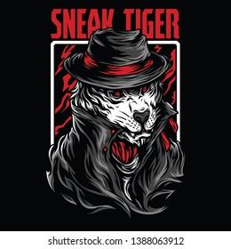 Sneak Tiger Red Mafia Illustration
