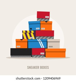 Sneaker boxes, flat design style illustration.