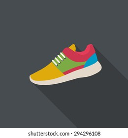 Sneaker flat design with long shadow.