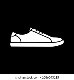 Sneaker icon. Silhouette Sneaker vector icon for web design isolated on black background