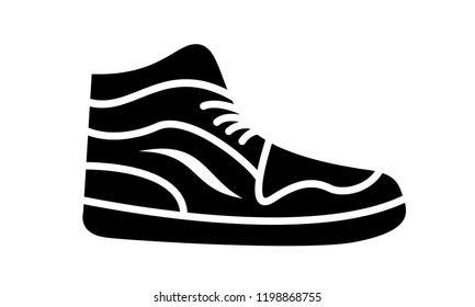 Sneaker running shoes. Casual simple style logo. Vector illustration icon of fitness and sport, gym shoe. Black sign of shop on white background. Image for web or print design.
