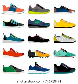 Sneaker shoe. Athletic sneakers vector illustration, fitness sport shop footwear collection isolated on white background, vector illustration