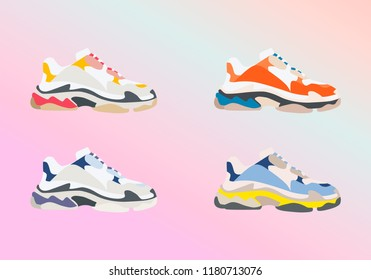 Sneaker shoe . Consept. Flat design. Vector illustration. Sneakers in flat style. Sneakers side view. Fashion sneakers.