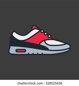 Sneaker Shoe Minimal Color Flat Line Stroke Icon Pictogram Symbol Illustration