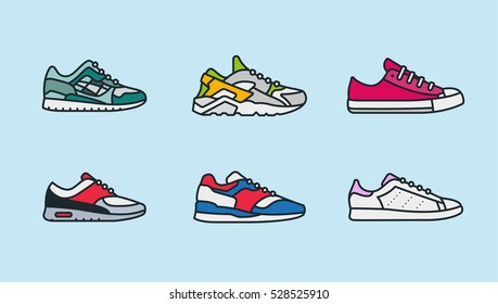 Sneaker Shoe Minimal Color Flat Line Stroke Icon Pictogram Symbol Illustration Set Collection