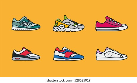 Sneaker Shoe Minimal Color Flat Line Stroke Icon Pictogram Symbol Illustration Set Collection