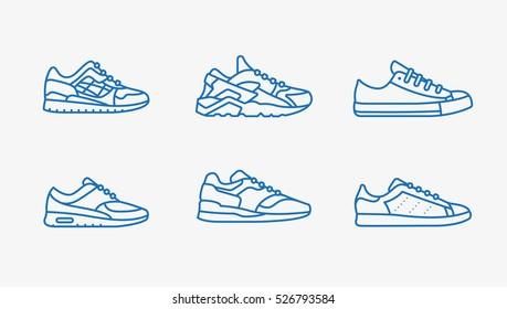 Sneaker Shoe Minimalistic Flat Line Outline Stroke Icon Pictogram Symbol Set Collection