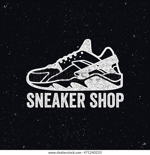 Sneaker Shop Logo Shoes Sign Stock Vector (Royalty Free