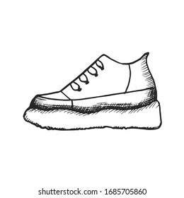 sneaker sketch drawing on a white background