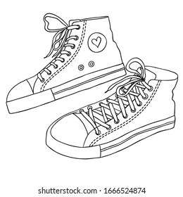 sneaker sketch . Hand drawn sketch with sneakers. Black and white sneakers set Black and white doodle illustration. Line art