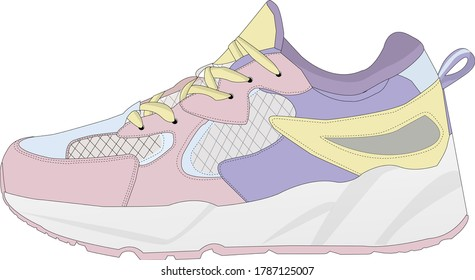Sneaker for women, girls in delicate pastel colors for poster, T-shirt, scrapbooking, stickers